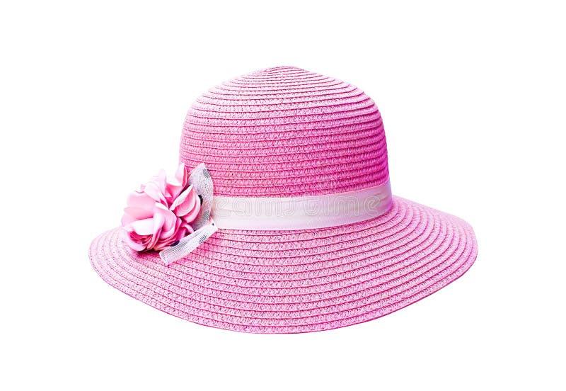Cappello variopinto di rosa della donna con i modelli di fiore del tessuto isolati su fondo bianco con il percorso di ritaglio fotografia stock libera da diritti