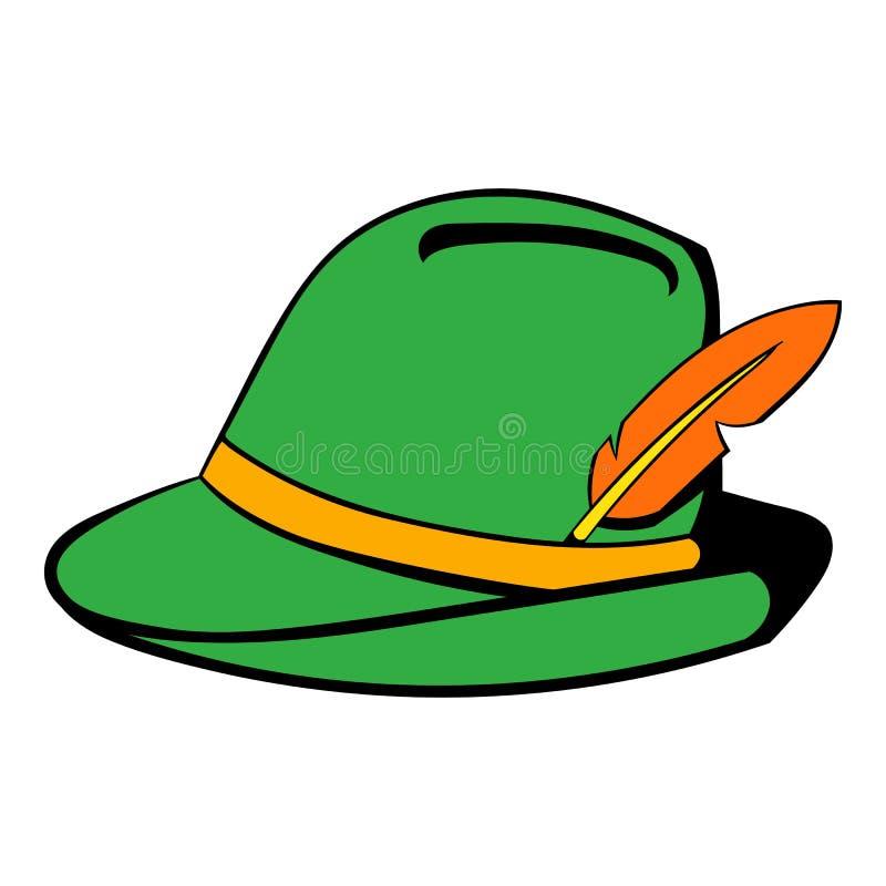 Cappello verde con il fumetto dell'icona della piuma royalty illustrazione gratis