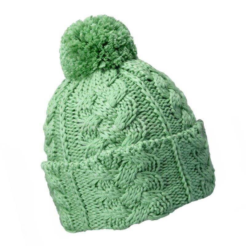 Cappello verde di lana immagini stock