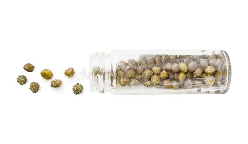 Capperi in bottiglia di vetro isolata su bianco immagini stock libere da diritti