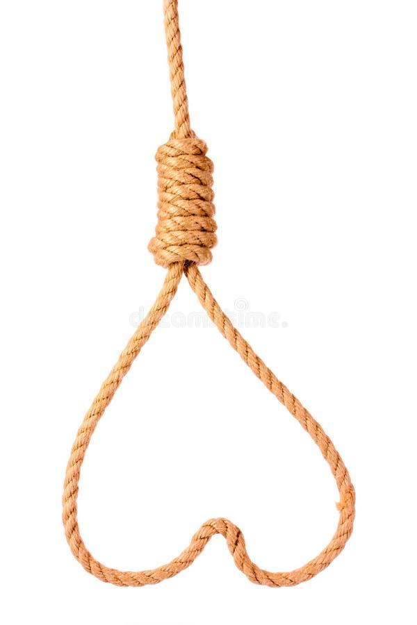 Cappio di suicidio nel simbolo del cuore fotografie stock