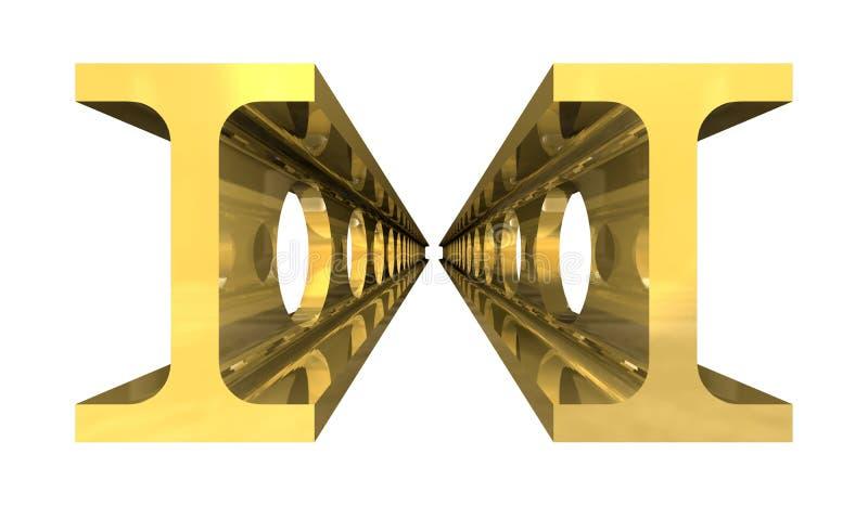 Capple de la poutre en acier d'or d'isolement illustration de vecteur