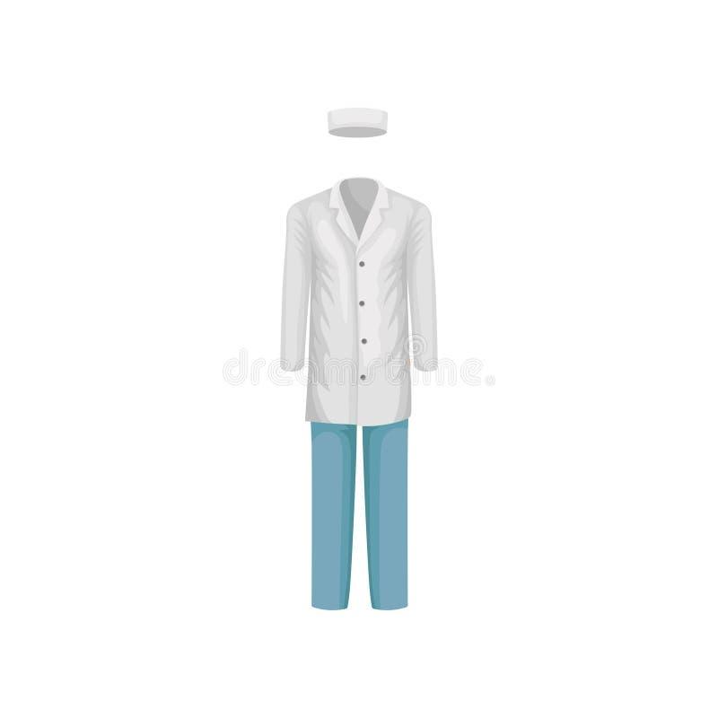 Cappotto bianco del laboratorio, cappello e pantaloni blu Uniforme di medico degli uomini Vestiti del lavoratore medico Progettaz illustrazione vettoriale