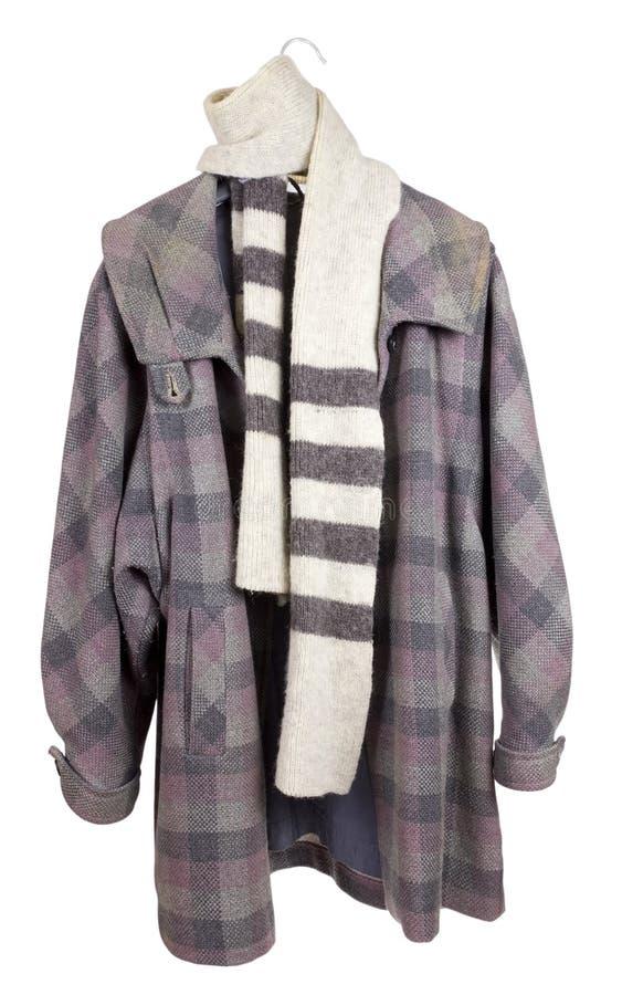 Cappotto checkered del tweed delle donne fotografia stock libera da diritti