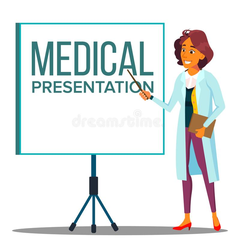 Cappotto del dottore Woman In White vicino ad incontrare lo schermo del proiettore, vettore medico di presentazione Illustrazione royalty illustrazione gratis