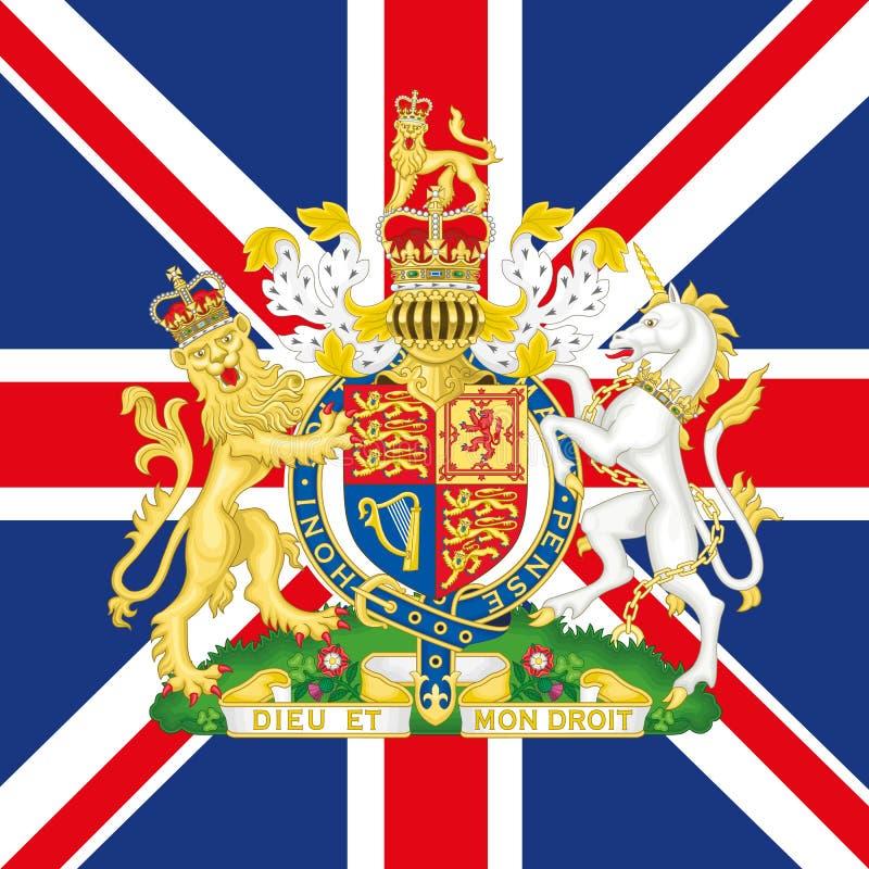 Cappotto del Regno Unito del braccio e della bandiera illustrazione di stock