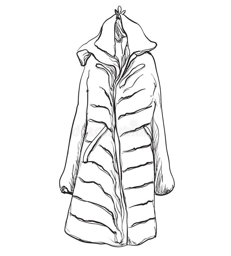 Cappotto della donna per l'inverno Schizzo dei vestiti illustrazione di stock