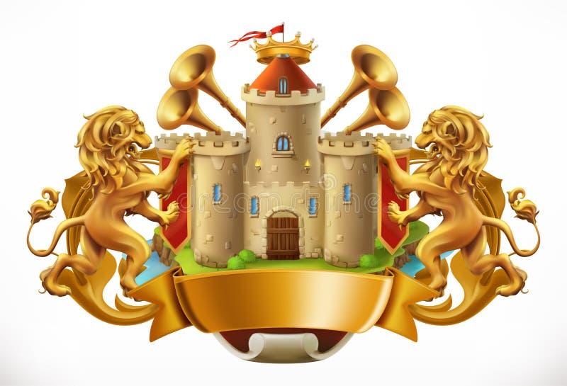Cappotto delle braccia Castello e leoni Innesta l'icona illustrazione di stock