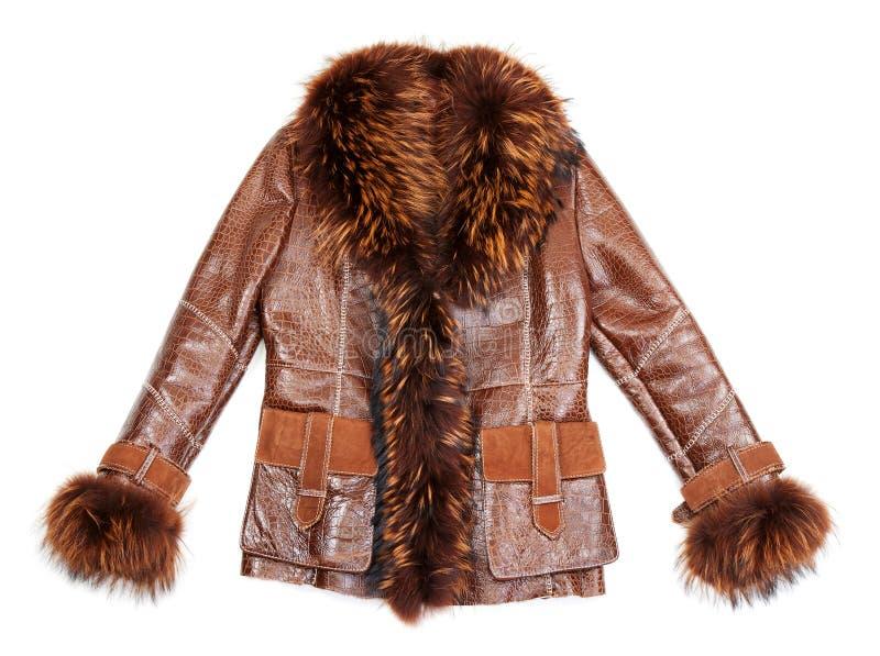 Cappotto di pelle di pecora del Brown con pelliccia immagini stock libere da diritti