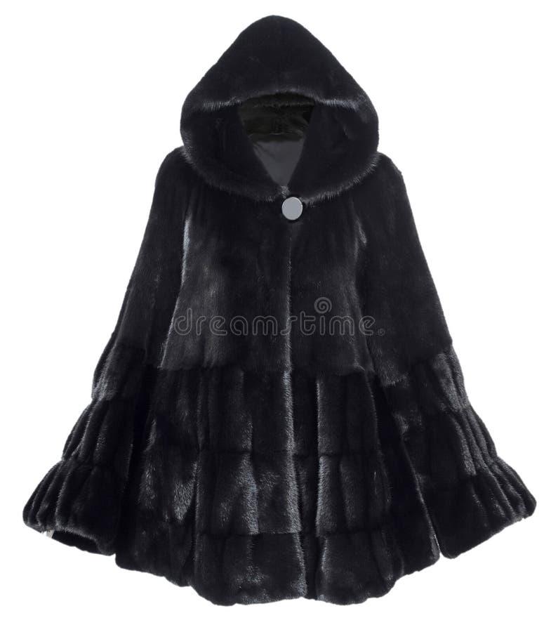 Cappotto di pelliccia nero fotografia stock