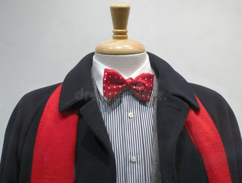 Cappotto scuro con la sciarpa e il bowtie rossi fotografie stock libere da diritti