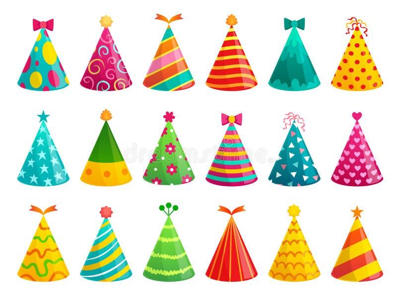 Cappucci della festa di compleanno del fumetto Cappuccio divertente di celebrazione, cono di festa ed insieme di carta variopinto illustrazione di stock