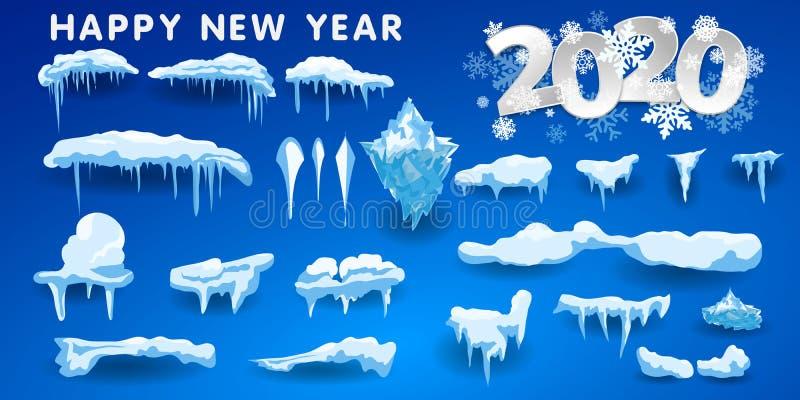 2020 cappucci della neve, palle di neve ed insiemi dei cumuli di neve Raccolta di vettore del cappuccio della neve Elemento della royalty illustrazione gratis