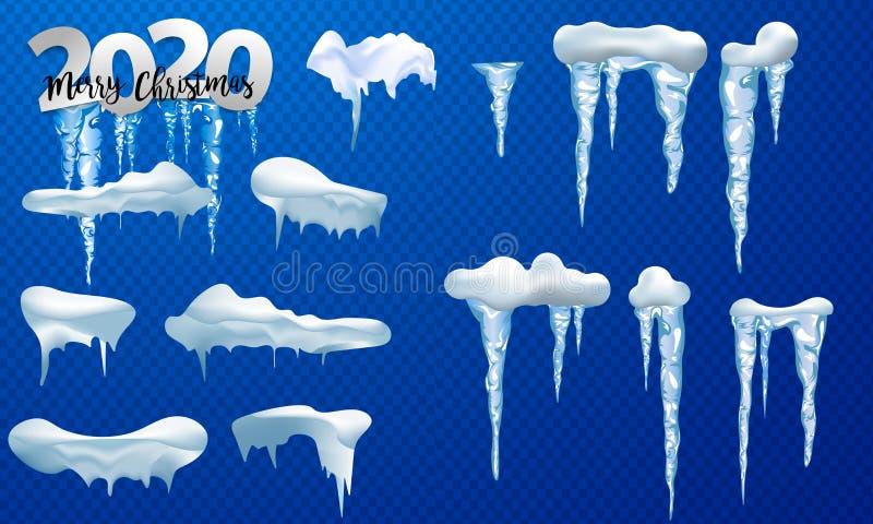 2020 cappucci della neve, palle di neve ed insiemi dei cumuli di neve Raccolta di vettore del cappuccio della neve Elemento della illustrazione vettoriale