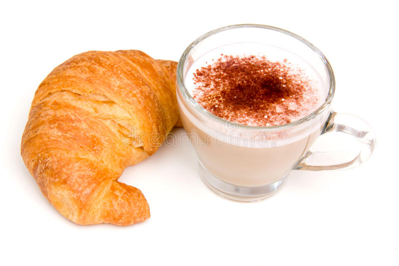 Cappuccino και croissant στοκ φωτογραφίες