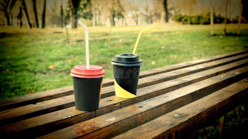 Cappuccino, πάρκο φθινοπώρου, πάγκος στο πάρκο, διάστημα αντιγράφων στοκ φωτογραφία