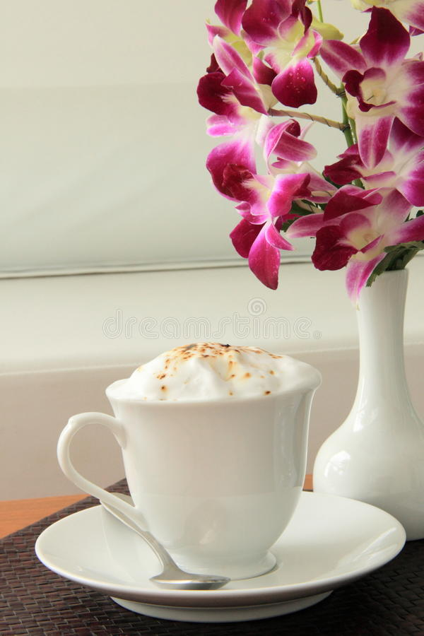 Download Cappuccino stock photo. Image of bloom, table, bistro - 22308402