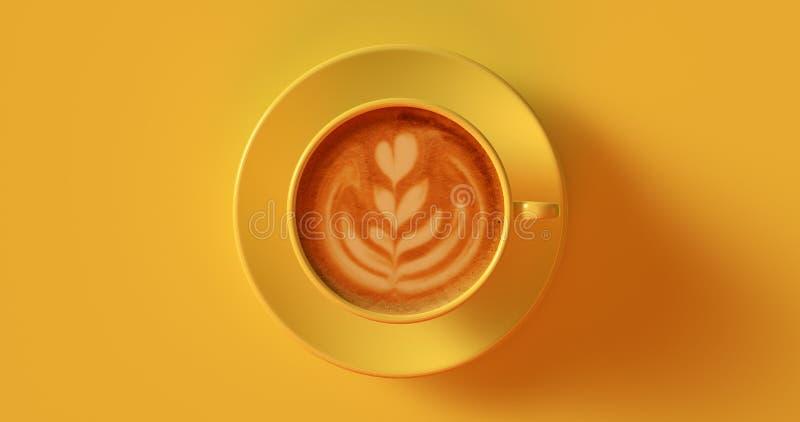 Cappuccino amarelo do copo de café fotos de stock royalty free