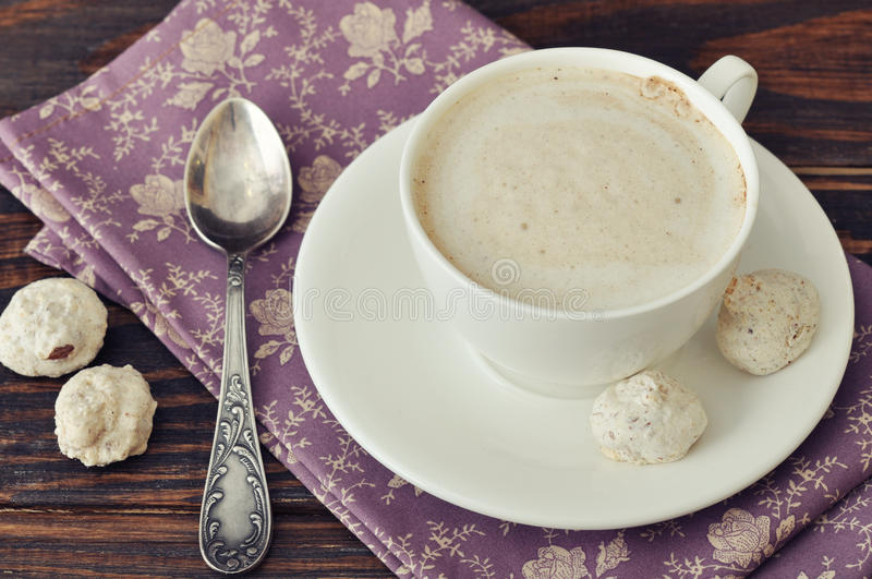Cappuccino With  Biscotti Stock Photo