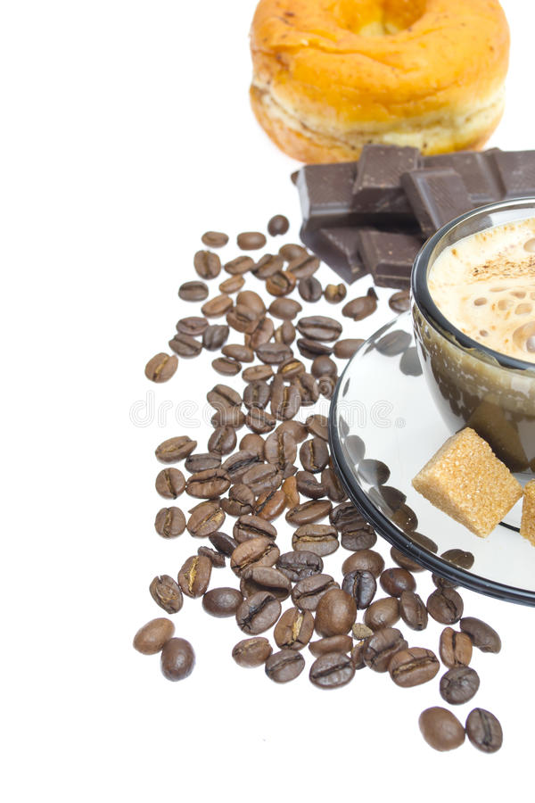 Cappuccino, brown sugar and coffee beans on white stock photos