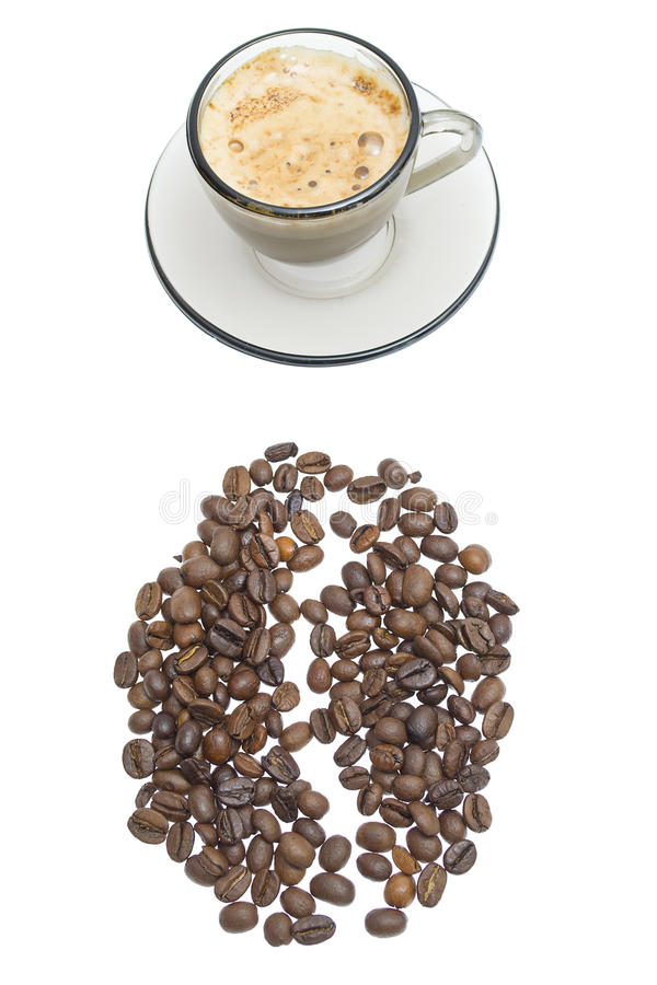 Cappuccino, brown sugar and coffee beans on white stock image