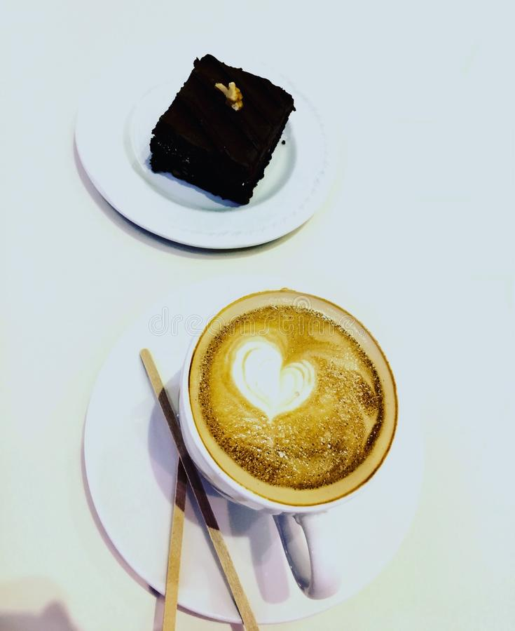 Cappuccino and brownie stock photo