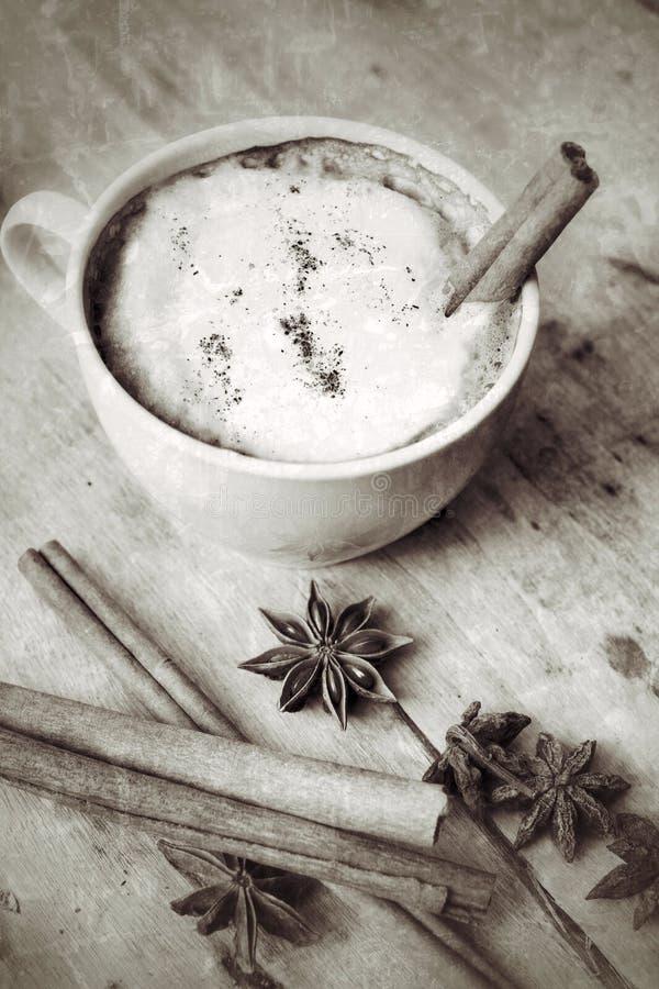 Cappuccino chaud avec les bâtons de cannelle d'épices et l'anis d'étoile. photo libre de droits