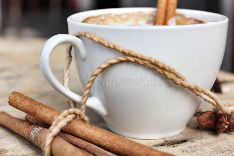 Cappuccino chaud avec les bâtons de cannelle d'épices et l'anis d'étoile. photographie stock
