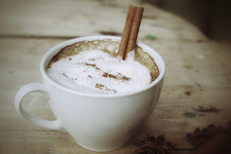 Cappuccino chaud avec les bâtons de cannelle d'épices et l'anis d'étoile. photos stock