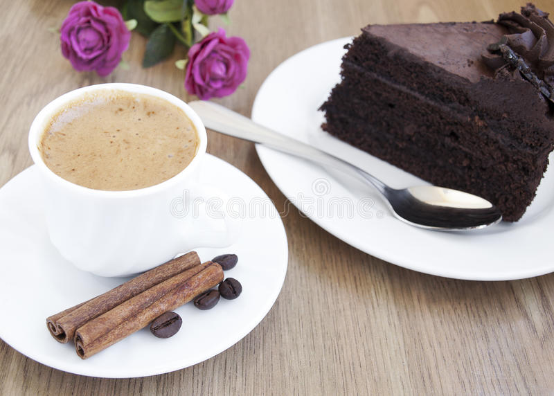 Download Cappuccino And Chocolate Cake Stock Image - Image: 23930981