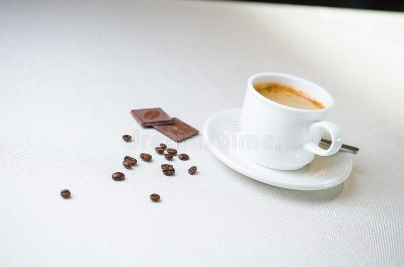Cappuccino coffee cup closeup at the table stock photos