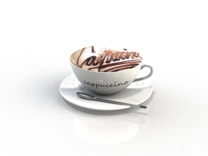 Cappuccino coffee cup. 3d render abstract royalty free stock photos