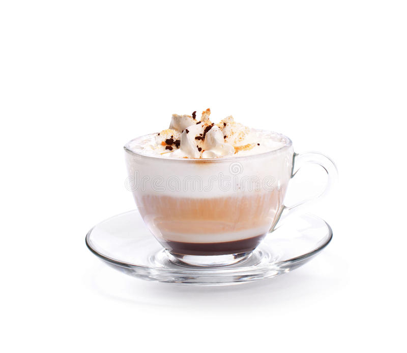 Cappuccino coffee isolated on white. A Latte Coffee Isoalted coffee cup on white royalty free stock images