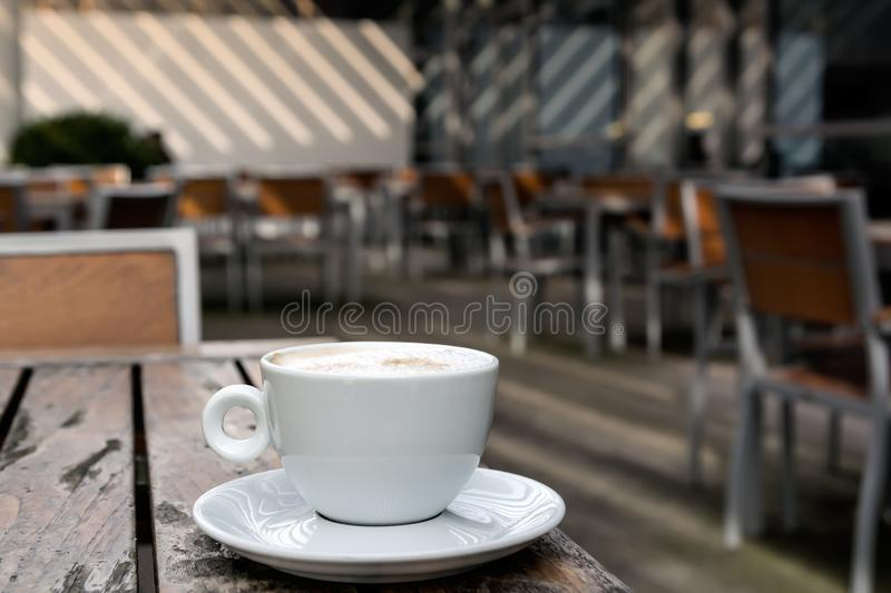 Cappuccino coffee, terrace stock images