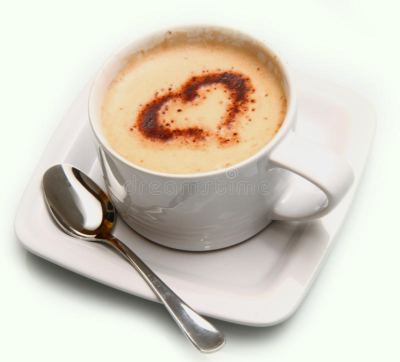 Cappuccino con el corazón fotos de archivo libres de regalías