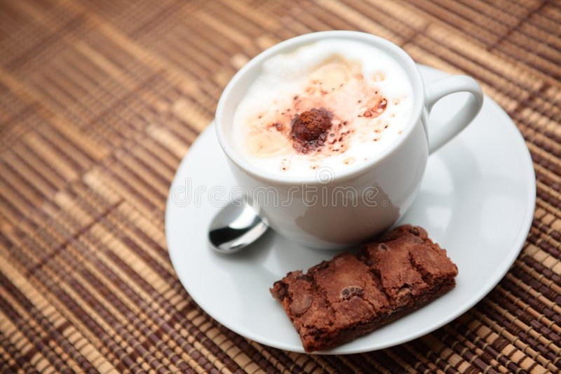 Download Cappuccino with a Cookie stock image. Image of kitchenware - 7123673