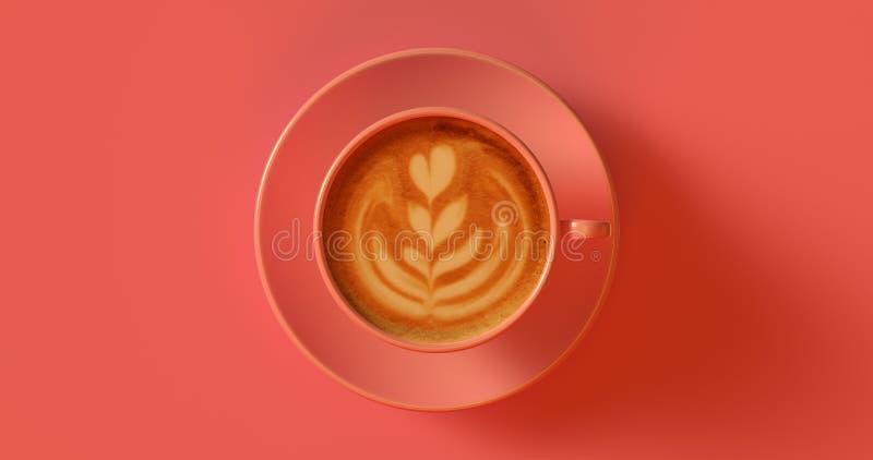 Cappuccino cor-de-rosa do copo de café do pêssego foto de stock royalty free