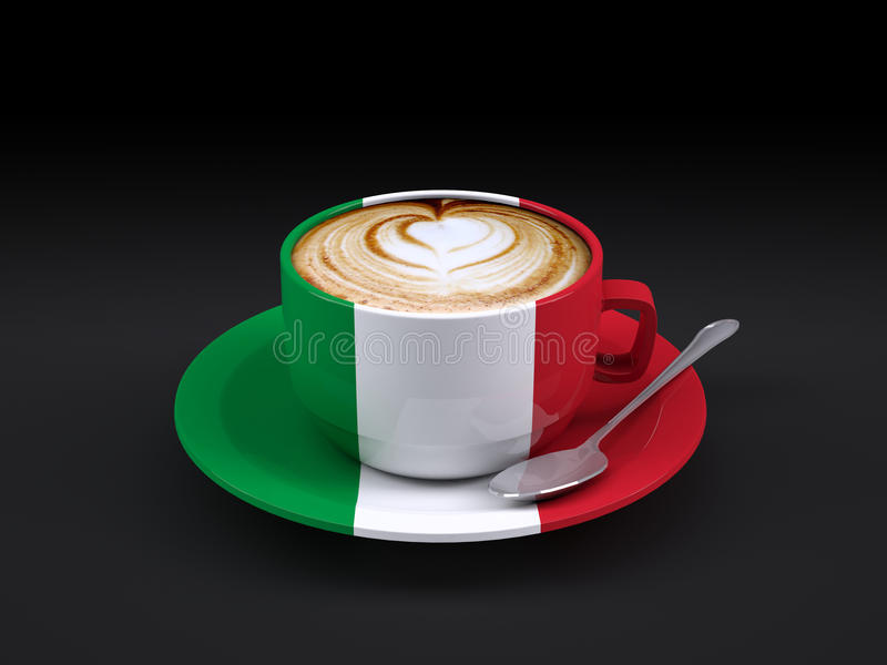 Cappuccino cup with Italy flag. On dark background, 3d illustration royalty free illustration