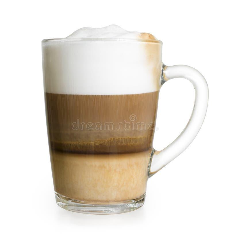 Cappuccino dans la tasse en verre d'isolement avec le chemin de coupure photos stock