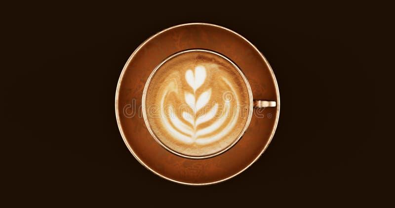 Cappuccino de bronze de bronze do copo de café fotos de stock
