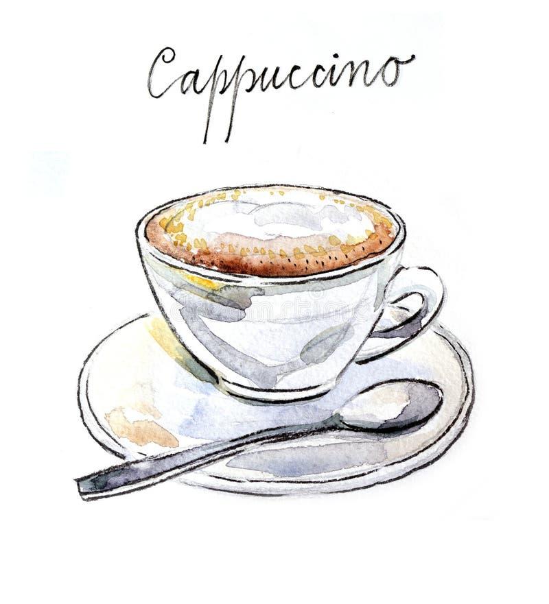 Cappuccino de café d'aquarelle illustration stock
