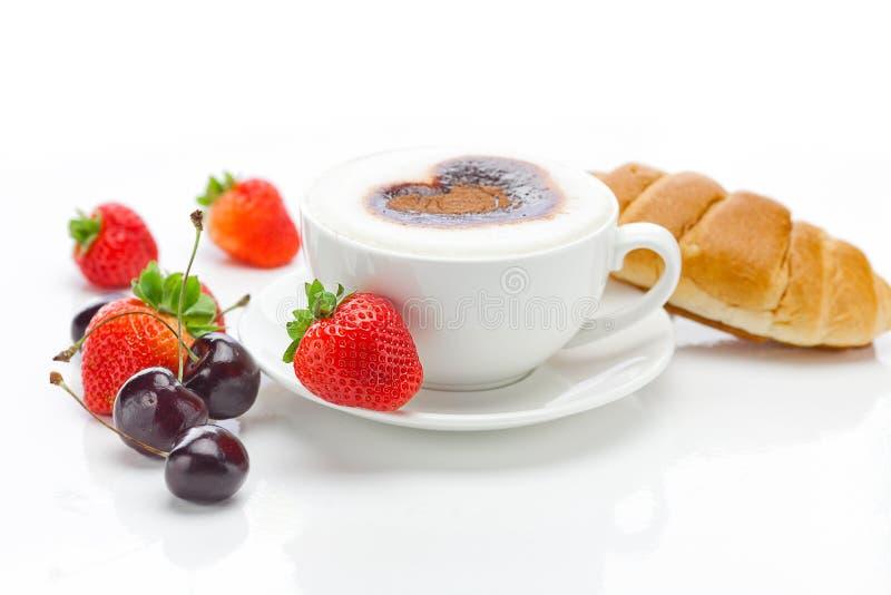 Cappuccino e frutta fotografie stock libere da diritti