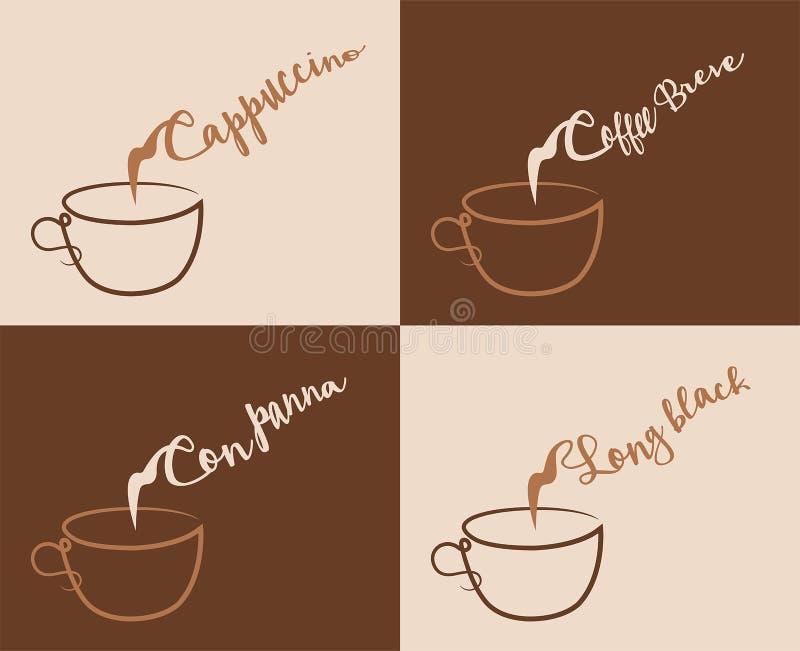 Cappuccino e outros tipos do café com vapor ilustração do vetor