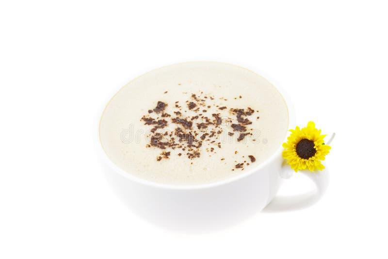 Cappuccino e un fiore fotografie stock libere da diritti