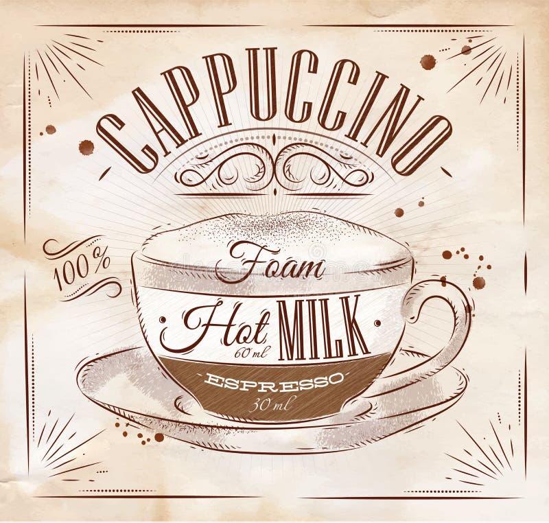 Cappuccino Kraft del manifesto illustrazione di stock