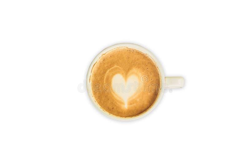 Cappuccino lub latte sztuki kawa na odosobnionym bielu zdjęcie stock