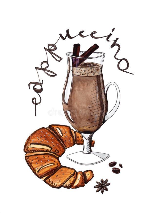 Cappuccino med kryddor och en giffel royaltyfri fotografi