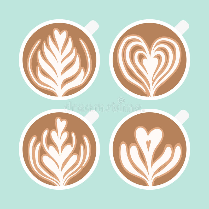 Cappuccino piankowy rysunek Kawowa sztuka royalty ilustracja