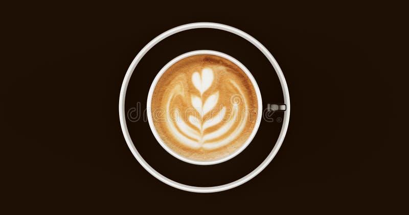 Cappuccino preto e branco do copo de café imagem de stock