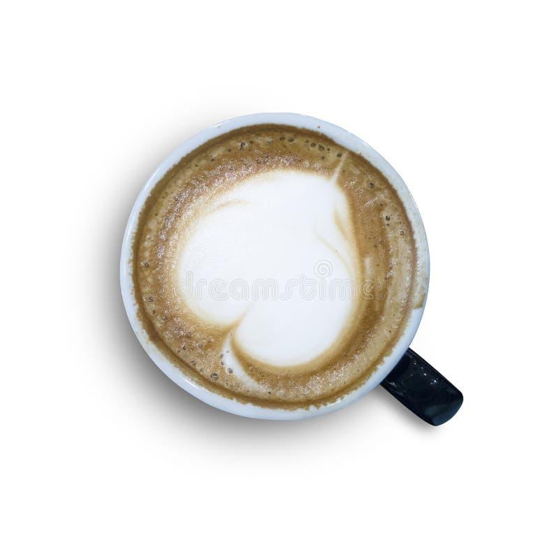 Cappuccino rånar tätt upp, med en hjärta som överst dekoreras av skumnolla arkivbild
